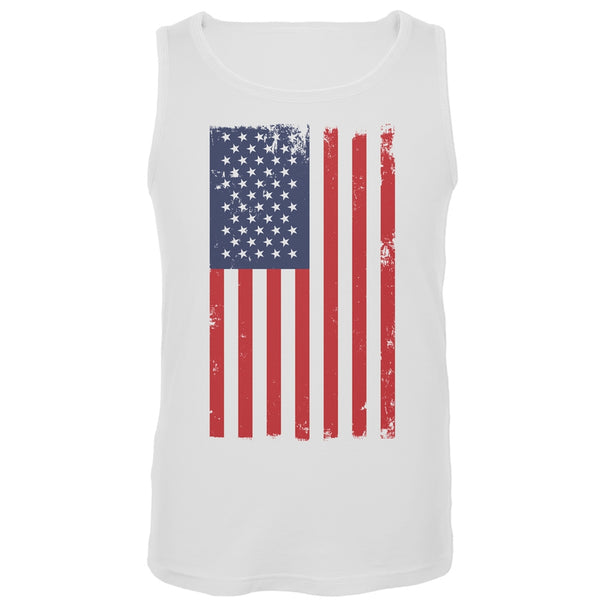 Distressed American Flag White Tank Top