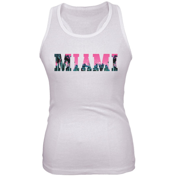 Miami Juniors White Crop Top - front view