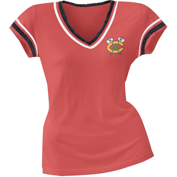 Chicago Blackhawks - Chest Logo Juniors V-Neck Jersey T-Shirt
