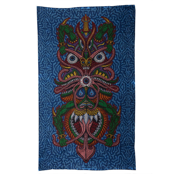 3-D Dragon Warrior Psychedelic Tapestry