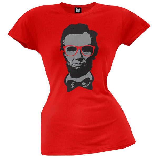 Abraham Lincoln Geek Glasses Juniors Red T-Shirt