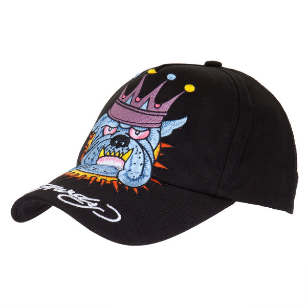 Ed Hardy - Crowned Bulldog Youth Adjustable Black Baseball Cap