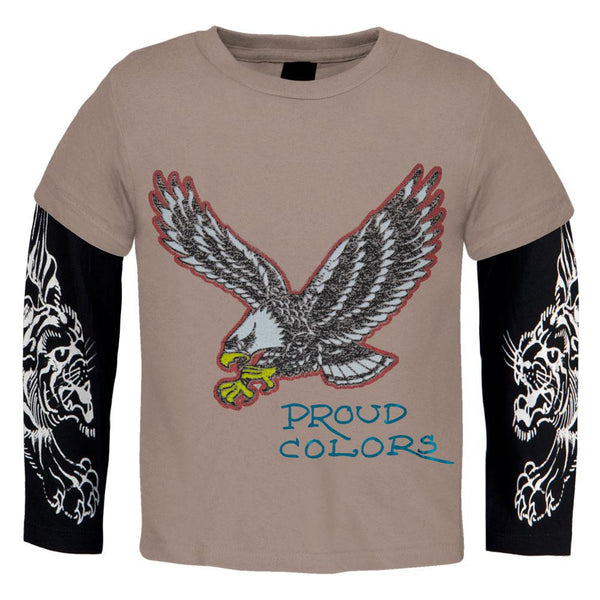 Ed Hardy - Eagle Proud Colors Juvy 2fer Long Sleeve T-Shirt