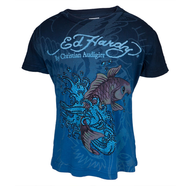 Ed Hardy - Koi Fish Sparkling Girls Juvy T-Shirt