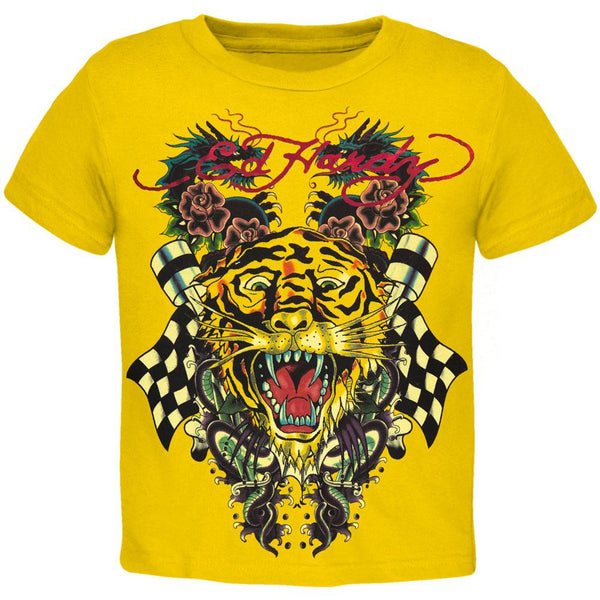 Ed Hardy - Tiger and Dragon Roar Yellow Youth T-Shirt