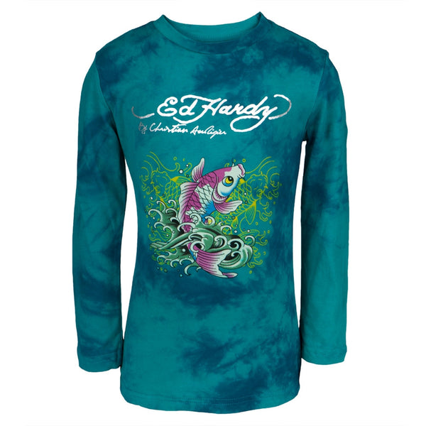 Ed Hardy - Two Koi Fish Swimming Girls Juvy Long Sleeve T-Shirt