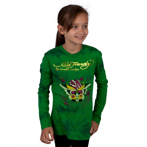 Ed Hardy - Butterfly Rose Girls Youth Long Sleeve