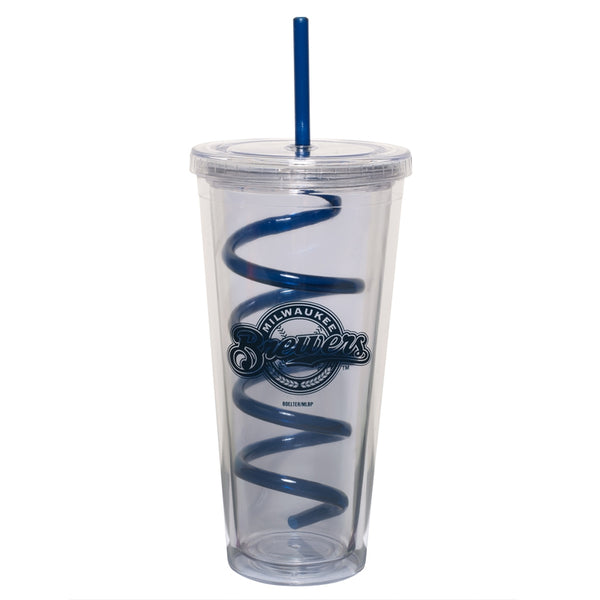Milwaukee Brewers - Logo 22 oz Acrylic Tumbler With Swirl Straw