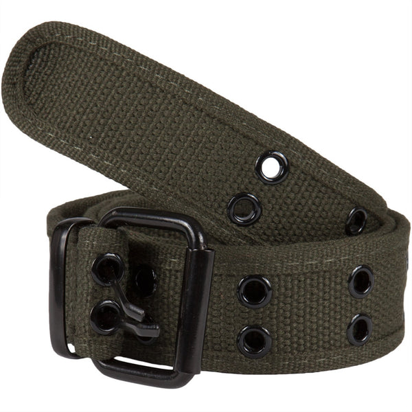 Olive Web Double Grommet Belt