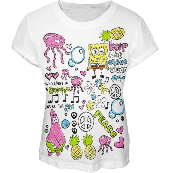 Spongebob Squarepants - Keep The Ocean Clean Collage Girls Youth T-Shirt
