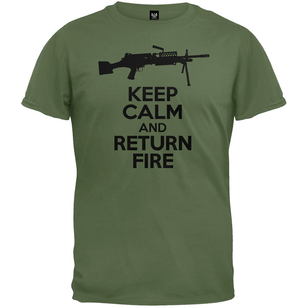 Keep Calm and Return Fire SAW Military Green T-Shirt