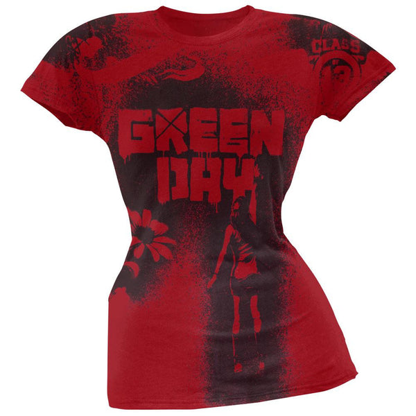 Green Day - Paint All-Over Red Juniors T-Shirt