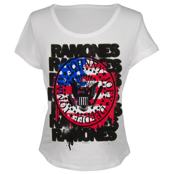 Ramones - U.S. Flag Juniors Scoop Neck T-Shirt