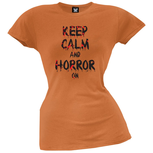 Keep Calm and Horror On Orange Juniors T-Shirt