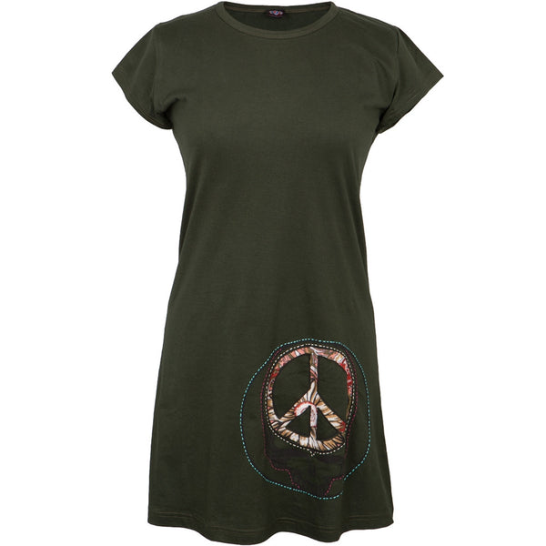Grateful Dead - Peace Sign SYF Dark Green Juniors Cap Sleeve Mini Dress
