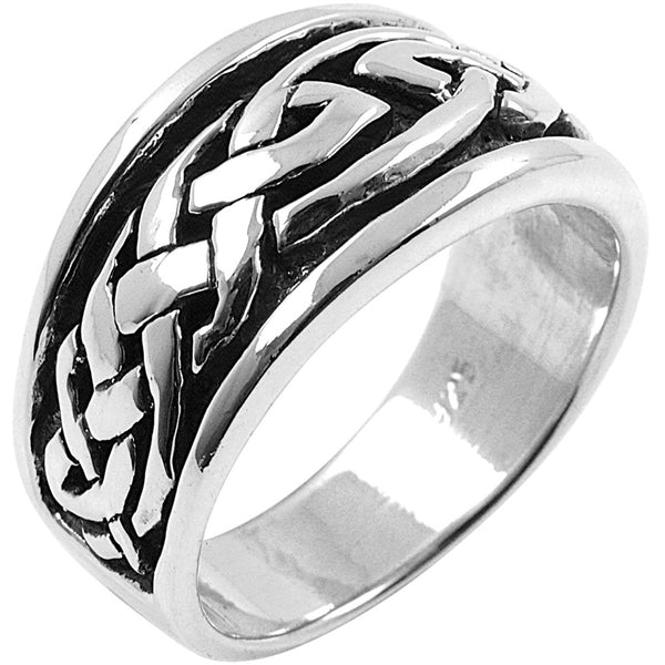 Large Tribal Celtic Braid Sterling Silver Ring