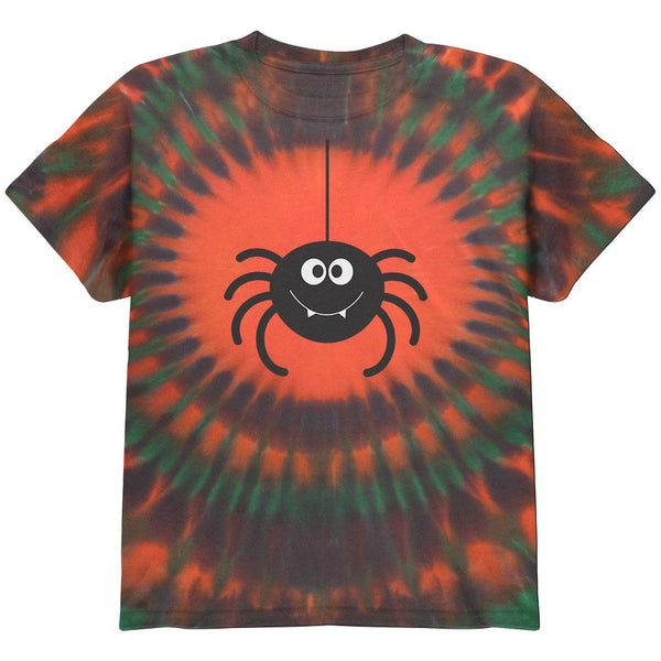 Happy Spider Halloween Orange Tie Dye Pattern Youth T-Shirt