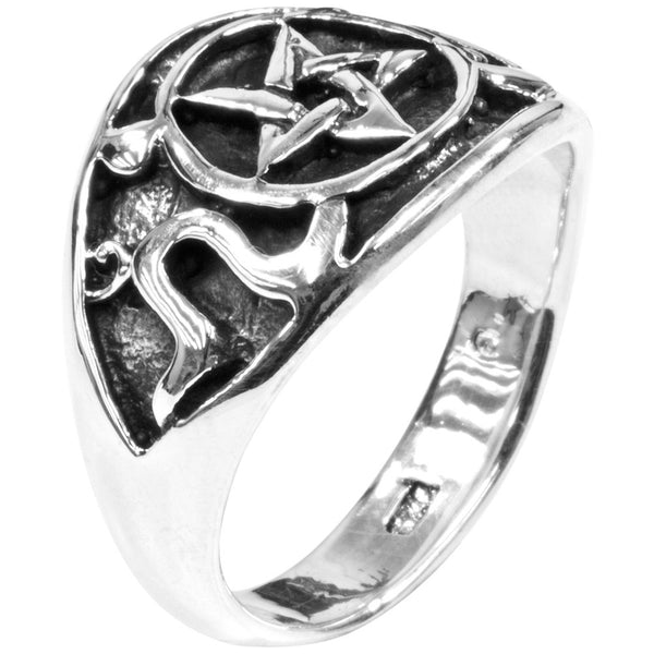 Pentacle & Snakes .925 Sterling Silver Ring