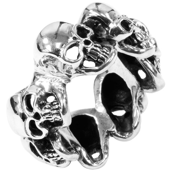 Skull Band .925 Sterling Silver Ring