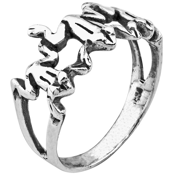 Three Frogs .925 Sterling Silver Ring