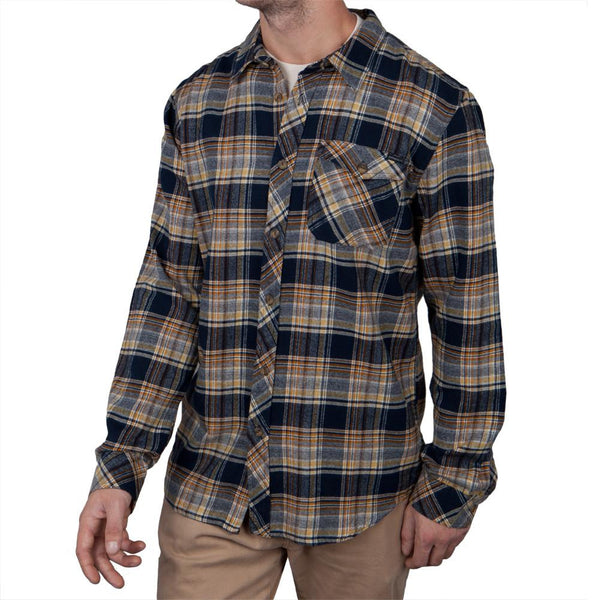 O'Neill - Basin Navy Plaid Long Sleeve Button-Up Shirt