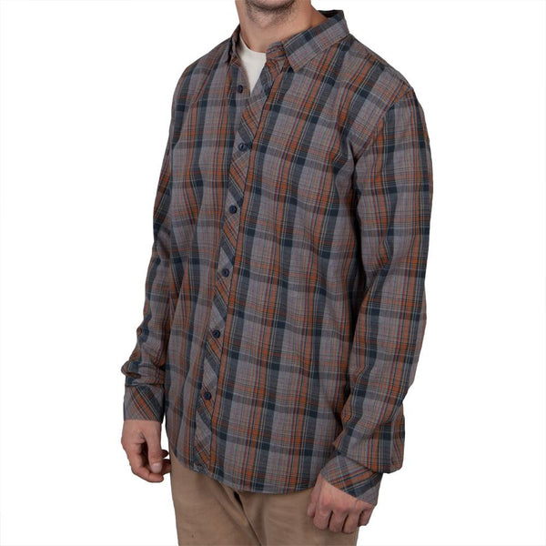 O'Neill - Casbar Navy Plaid Long Sleeve Button-Up Shirt
