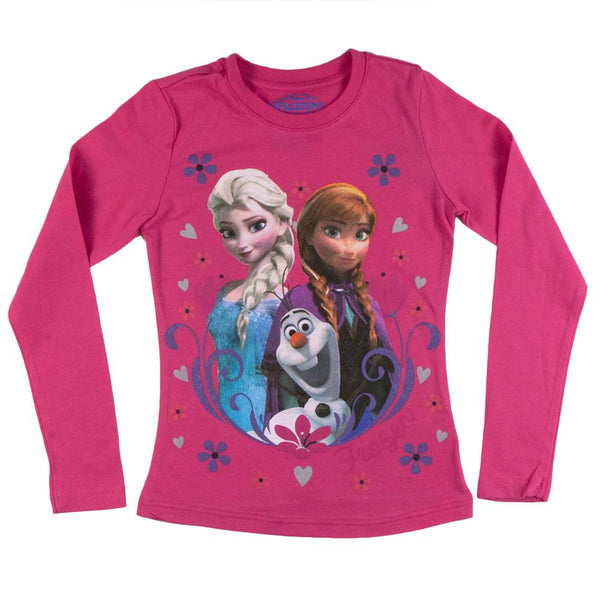 Frozen - Group Flakes & Hearts Girls Juvy Long Sleeve T-Shirt