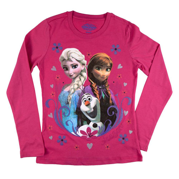Frozen - Group Flakes & Hearts Girls Youth Long Sleeve T-Shirt