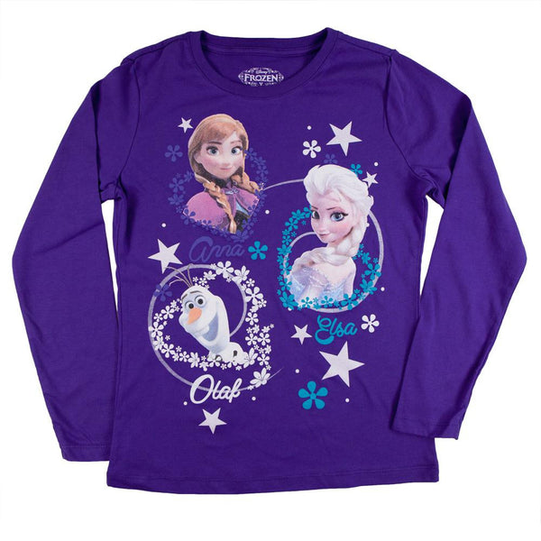 Frozen - Group Flakes & Hearts Girls Youth Purple Long Sleeve T-Shirt