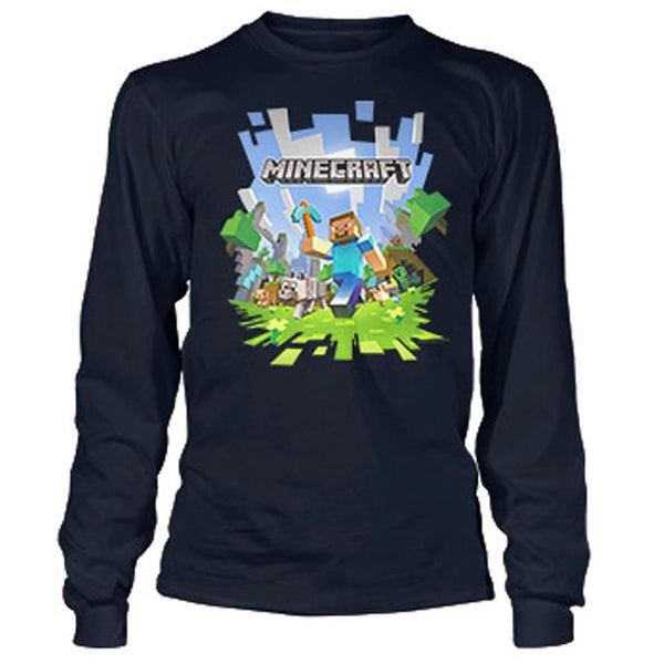 Minecraft - Adventure Navy Youth Long Sleeve T-Shirt