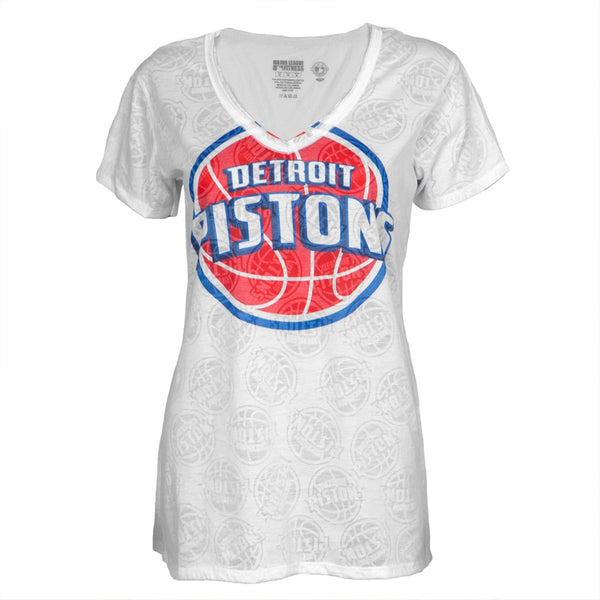 Detroit Pistons - Large Logo Juniors Burnout V-Neck T-Shirt