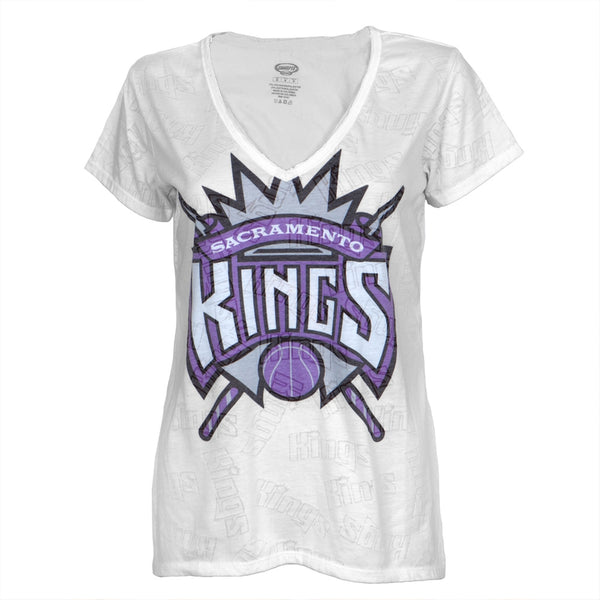 Sacramento Kings - Large Logo Juniors Burnout V-Neck T-Shirt