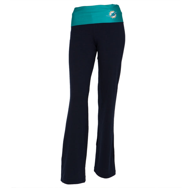 Miami Dolphins - Flip Down Waistband Logo Juniors Yoga Pants