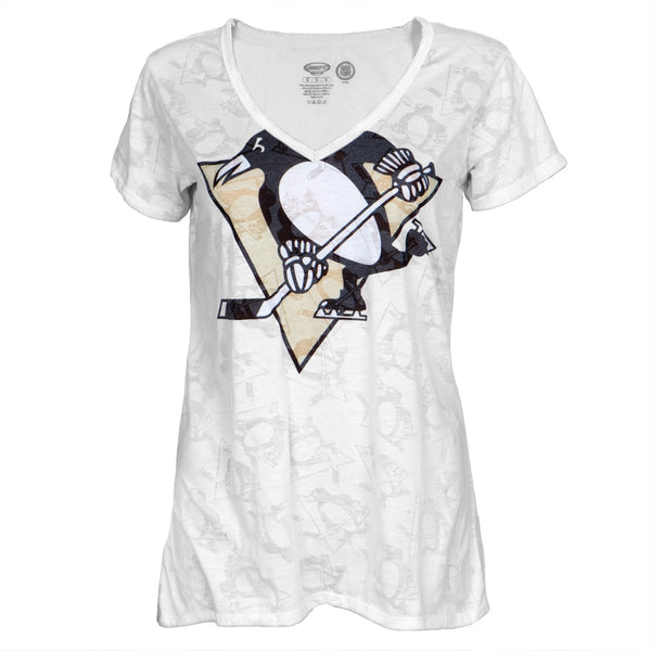 Pittsburgh Penguins - Large Logo Juniors Burnout V-Neck T-Shirt