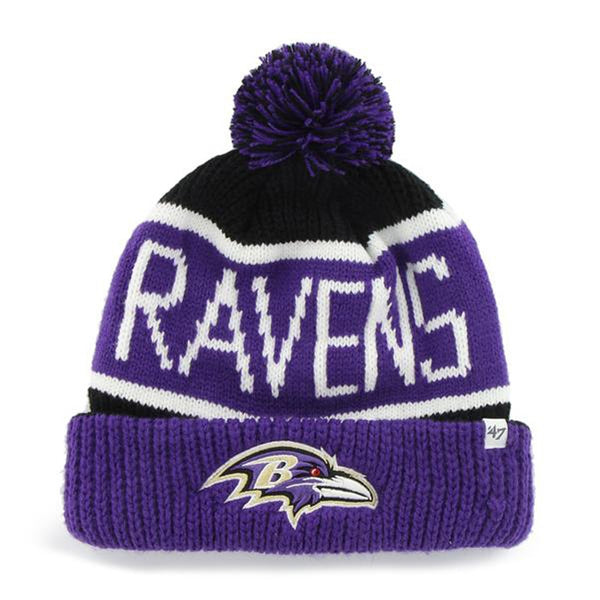 Baltimore Ravens - Logo Calgary Purple and Black Pom Pom Beanie
