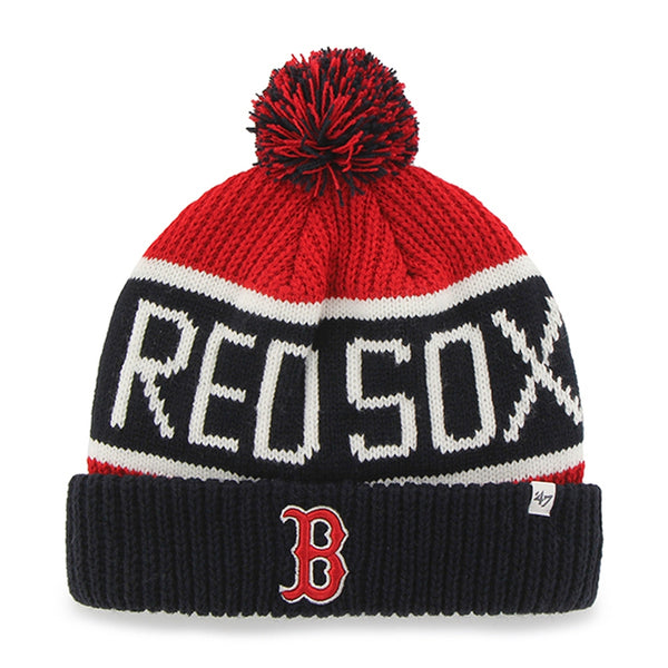 a6068508aea699 Boston Red Sox - Logo Calgary Navy and Red Pom Pom Beanie