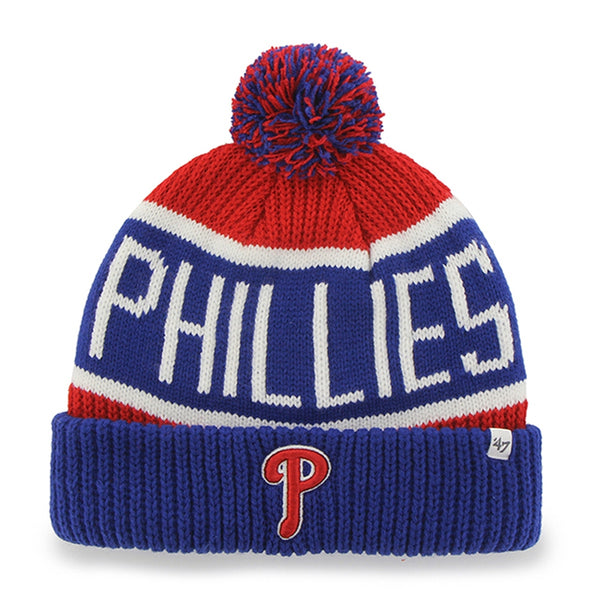 Philadelphia Phillies - Logo Calgary Blue and Red Pom Pom Beanie