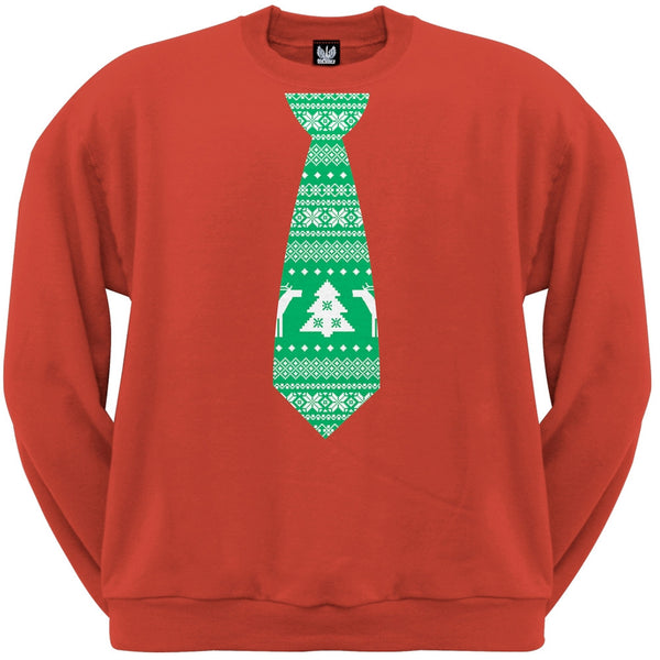 Ugly Christmas Sweater Tie Red Adult Crew Neck Sweatshirt