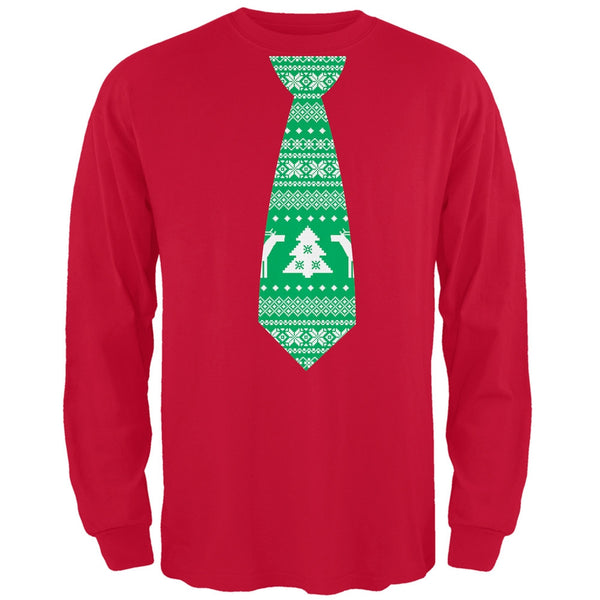 Ugly Christmas Sweater Tie Red Adult Long Sleeve T-Shirt