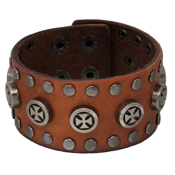 Circle Maltese Cross Studs Brown Leather Bracelet