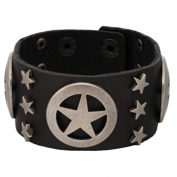 Lonestar & Star Studs Black Leather Cuff Bracelet