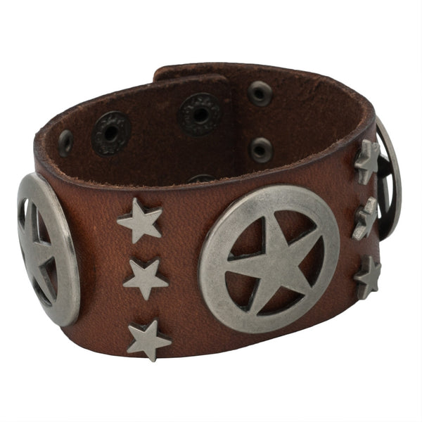 Lonestar & Star Studs Brown Leather Cuff Bracelet
