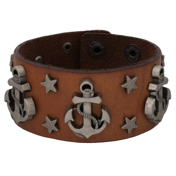 Anchor & Stars Studded Brown Leather Cuff Bracelet