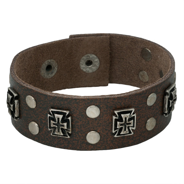 Cross Studded Brown Leather Cuff Bracelet