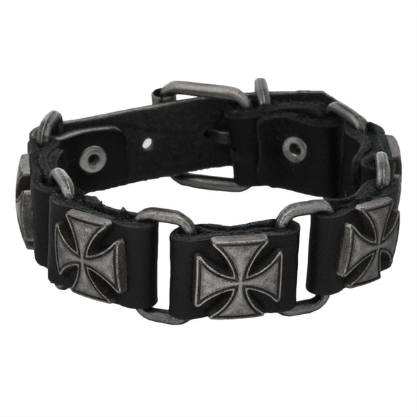 Maltese Cross Link Black Leather Bracelet