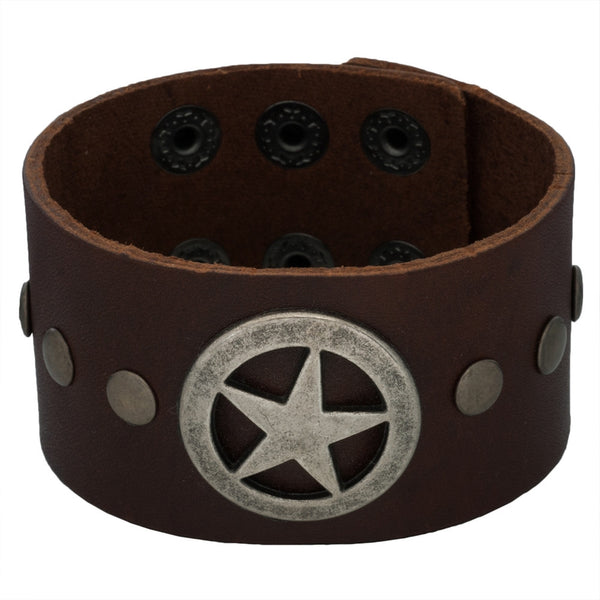 Lone Star Brown Leather Adjustable Cuff Bracelet