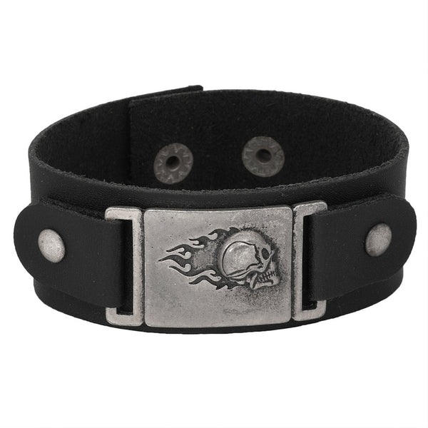 Flaming Skull Charm Black Leather Cuff Bracelet