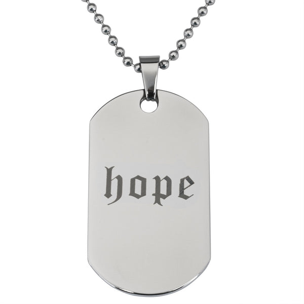 Hope Stainless Steel Dog Tag Ball Chain Necklace