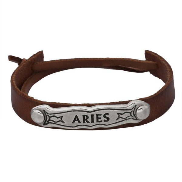 Aries Zodiac Brown Leather Adjustable Bracelet