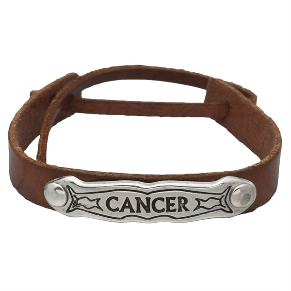 Cancer Zodiac Brown Leather Adjustable Bracelet